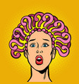 question mark hair on the head surprised woman vector image