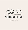running squirrel line outline monoline hipster vector image vector image