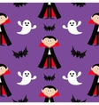 Seamless Pattern Count Dracula flying bat ghost vector image