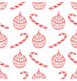 seamless pattern of red christmas tree ball candy vector image