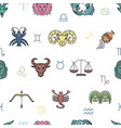 seamless pattern with zodiac signs on white vector image vector image