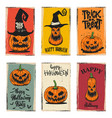 set halloween banners with pumpkins design vector image