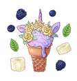 set ice cream unicorn blackberry banana vector image vector image