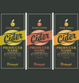 set of three labels for a cider vector image vector image