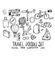 set travel doodle hand drawn sketch line eps10 vector image vector image