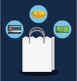 shopping bag online store market icon vector image vector image