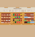 supermarket grocery store with fresh food vector image vector image
