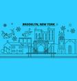 united states brooklyn winter holidays skyline vector image vector image
