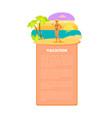 vacation hot summer poster tropical beach woman vector image