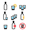 vodka shot and bottle strong alcohol icon vector image vector image