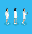 woman physician worker different angles model vector image