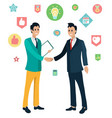 workers shake hands financial cooperation vector image