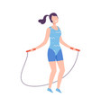 young woman skipping with jump rope girl doing vector image