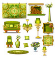 furniture green vintage style big set vector image