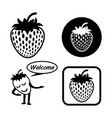 strawberry icon outline set vector image