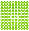 100 sweets icons set green circle vector image vector image