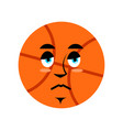 basketball sad emoji ball sorrowful emotion vector image vector image