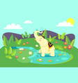 beige elephant in clothing stands in clean puddle vector image vector image