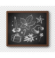 black and white chalked christmas set vector image vector image