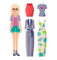blonde girl in round sunglasses with clothes set vector image vector image
