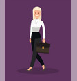 business woman goes to the office flat design vector image vector image
