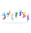 cartoon happy jumping color characters people vector image vector image