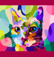 cat face in pop art style vector image vector image