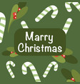 christmas and new year background holly and candy vector image vector image