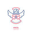 christmas angel new year decoration flat line vector image vector image