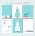 christmas city decoration cards set vector image
