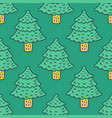 christmas tree drawing pattern fir cartoon style vector image vector image