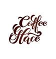coffee glace logo handwritten lettering design vector image