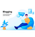 concept of blogging man working on laptop vector image