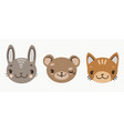cute baby faces of cartoon animals bear hare vector image