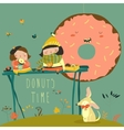 Cute girls enjoying tea time with donuts vector image vector image