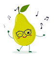 cute pear green cartoon character in glasses vector image vector image
