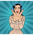 Excited Young Woman Listening Music vector image vector image