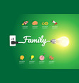 family concept with creative light bulb idea vector image vector image