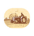 farm tractor sketch agricultural industry vector image vector image
