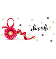 greeting card with a red ribbon in shape of vector image vector image
