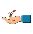 hand with capsules medicine isolated icon vector image vector image