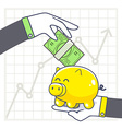 hands with yellow piggy bank and green mo vector image