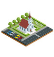isometric exterior of a modern church small vector image vector image