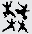 kungfu martial art sport silhouette vector image vector image