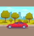 landscape urban park with passenger car on road vector image vector image