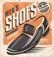 Men shoes retro poster design concept vector image