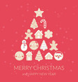 merry christmas gingerbread christmas tree vector image vector image