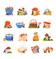 mushrooms icons set vector image