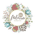new autumn collection fall floral round frame vector image vector image