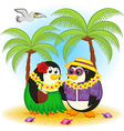 penguins on beach Hawaii vector image